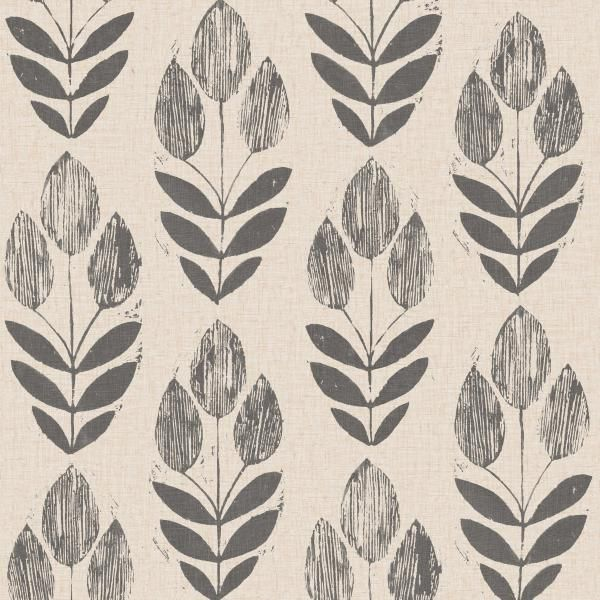 Scandinavian Black Block Print Tulip - Wallpaper (As seen in The chicken house in Fixer upper)