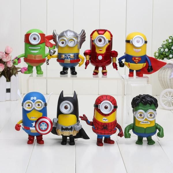 High Quality and Cute Minion The Avengers, DC, and Marvel Superheroes.  What you will get if you buy, will be 8 pieces/set of this item, the characters are Iron Man, Captain America, Spiderman, Batman, Thor, Hulk, Superman, Ninja Turtle.  Material    :PVC Condition :100% NEW and High Quality Size          : Approx 10cm Package   : Packed in bag as in pictures  ** LIMIT 7/SET PER CUSTOMER **  Grab this chance now! We have only very limited.