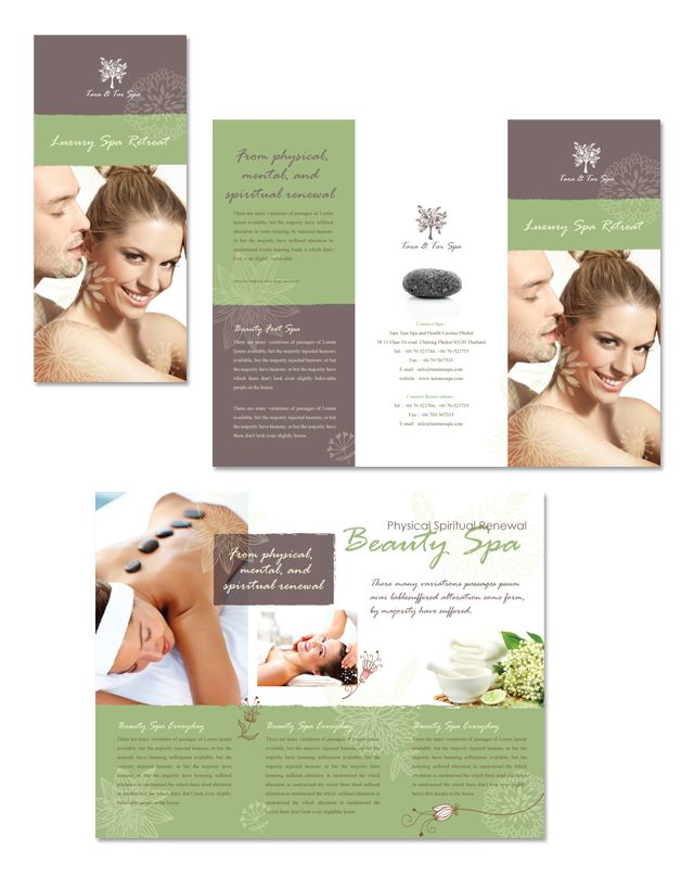 Spa beauty centre tri fold brochure template http www for Salon brochure templates
