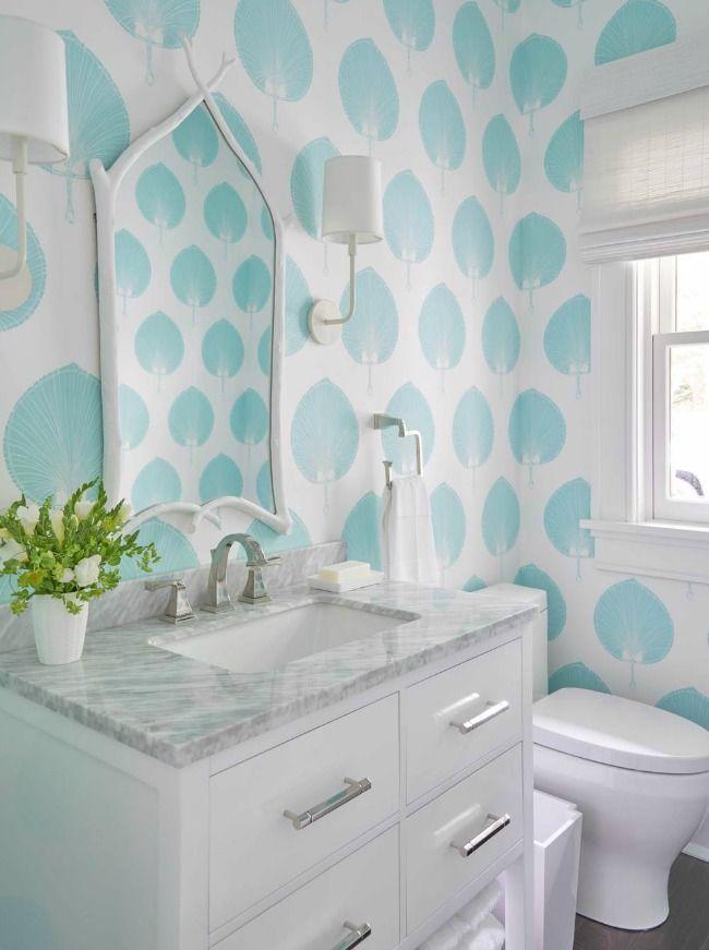 Coastal Bath Design. Meg-Braff-Coastal-Living-Idea-Bathroom-Blue-Palm-Wallpaper