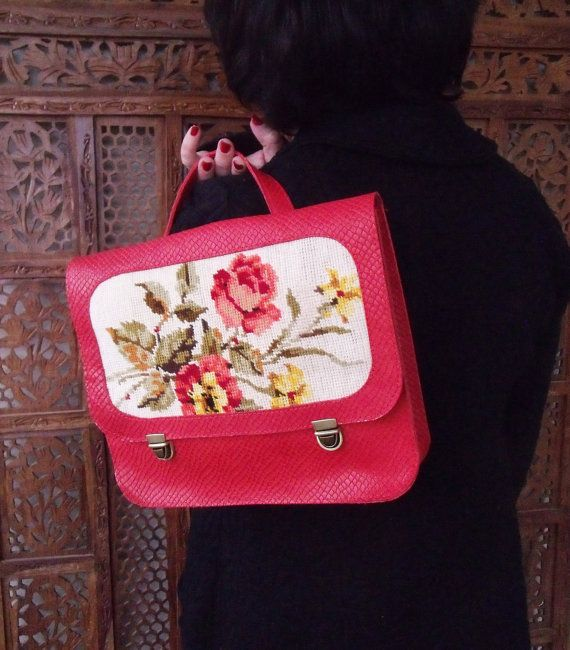 Red backpack Leather backpack Red handbag by LiberinaBags on Etsy