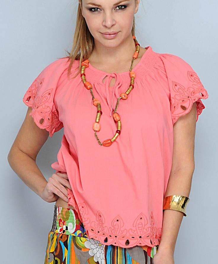 Camicia 100% cotone con ricami colore corallo, fresca ed estiva . la torvi su www.lollostore.com sezione speciale donna