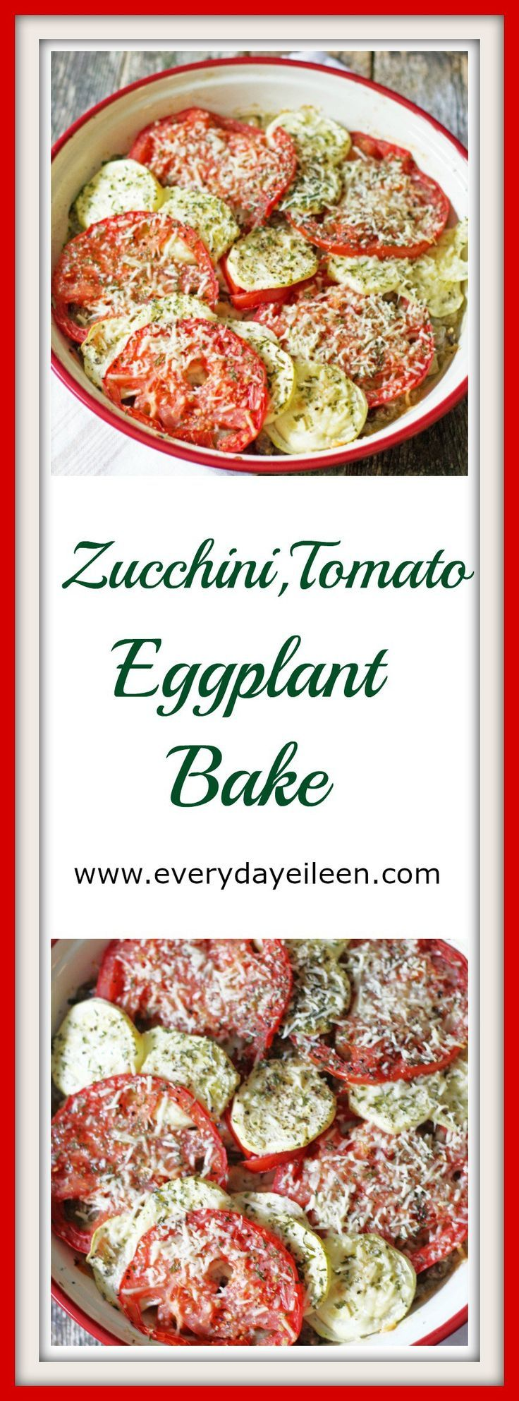 Zucchini, Tomato, Eggplant Bake is a low-fat and low-carb vegetarian meal! Super tasty and easy to prepare!