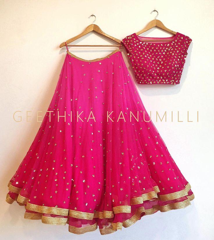 Stunning pink color designer lehenga and choli from Geethika Kanumilli. 31 May 2017