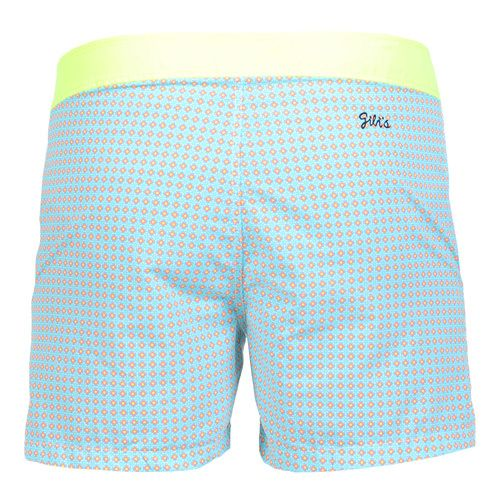 JACQUARD FLUORESCENT WAISTBAND MID-LENGHT BOARDSHORTS Fluorescent yellow jacquard nylon mid-length boardshorts with fixed waistband. Two front pockets. Back Gili's logo embroidery. Exterior button and interior metal hook closure. Zippered. Internal net. COMPOSITION: 100% POLYAMIDE lining 100% POLYESTER. Model wears size L he is 189 cm tall and weighs 86 Kg.
