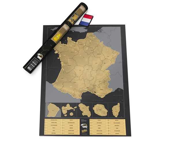 Scratch off the places you've been. Such a novel take on the old pinned map. Luckies Scratch Map France
