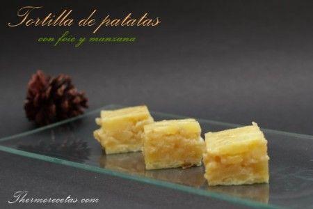 Jugosa tortilla de patatas, foie y manzana