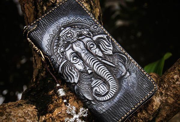 Handmade leather Geneisha biker wallet clutch zip long wallet black leather men phone