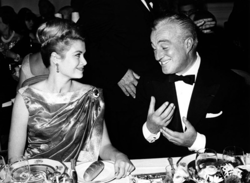 Princess Grace and Italian director and actor Vittorio De Sica at the gala dinner for the Monte-Carlo Television Festival, January 19, 1962.