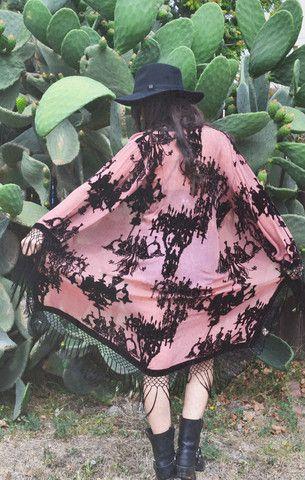 French Baroque Velvet Burnout Fringe Kimono - Saltwater Gypsy