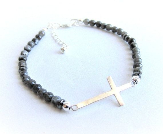 Sterling silver cross bracelet mens larvikite by Bravemenjewelry