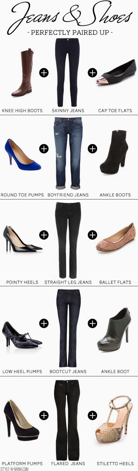 Pairing Jeans Skinny, Boyfriend, etc. What shoes you should wear with which jeans
