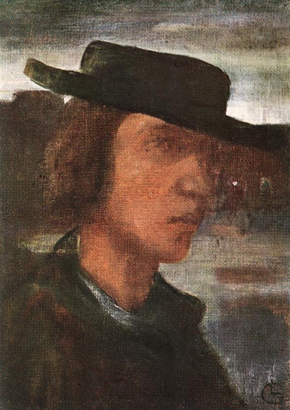 Lajos Gulácsy, Self-portrait with Hat, 1908-12