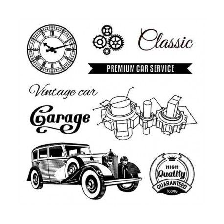 tampon scrapberry 39 s dessin voiture vintage horloge th me. Black Bedroom Furniture Sets. Home Design Ideas