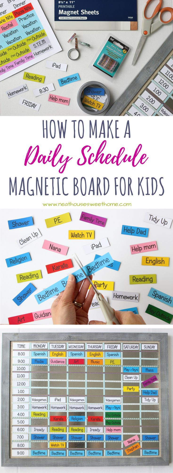 Teach your kids time management with this quick and inexpensive DIY magnetic board schedule. Print at home on magnetic sheets and get organized today! via @flaviablogger