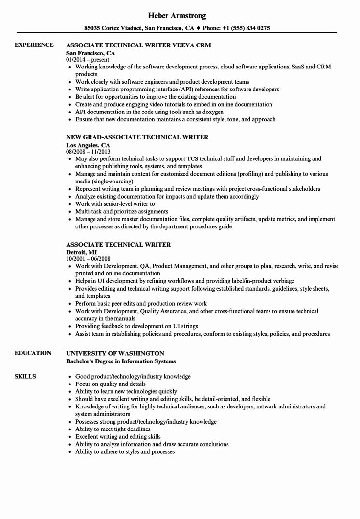 23 Technical Writer Resume Examples in 2020 Resume