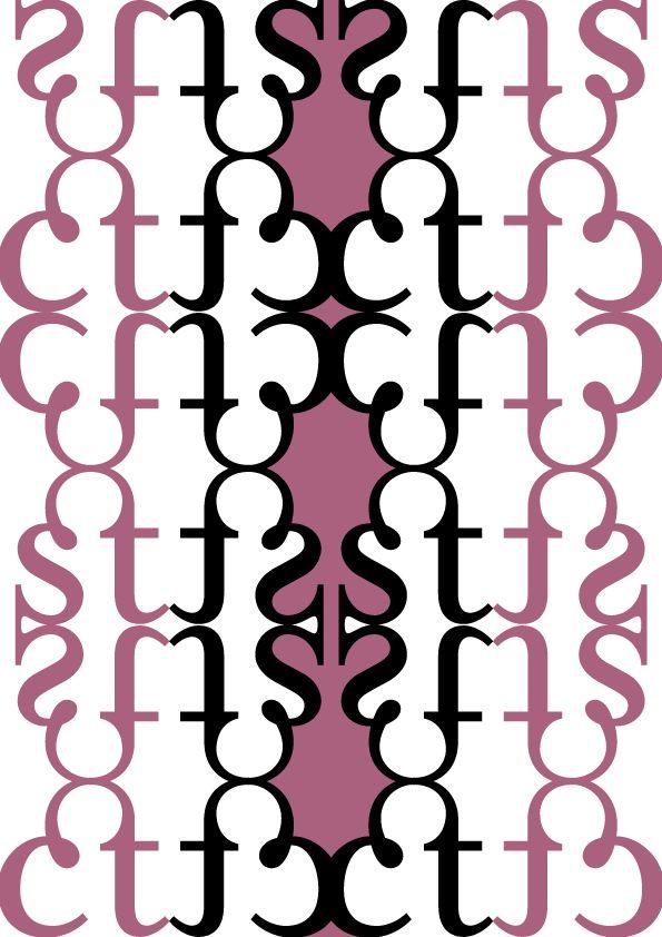 """Mrs Eaves. Zuzana Licko, 1996. Pattern 1 (colori): """"Elegante"""". Glifi utilizzati: legature """"ct"""" e """"st"""" riflesse orizzontalmente e verticalmente. Ho scelto questi colori perchè il nero è simbolo dell'eleganza e il rosa ispira dolcezza."""