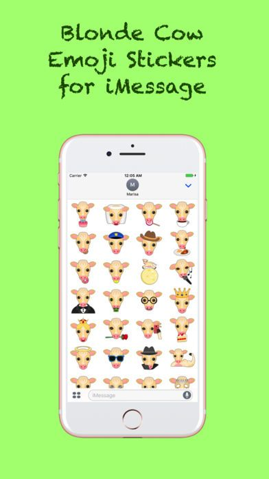 Blonde Cow Emoji Stickers for iMessage by Marisa Marquez