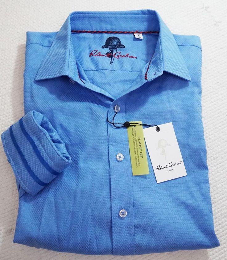 New $198 Robert Graham Men's Classic Fit Blue Casual Sport Shirt Large  #RobertGraham #ButtonFront