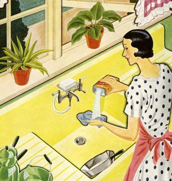 clipart di donna intenta nelle faccende domestiche