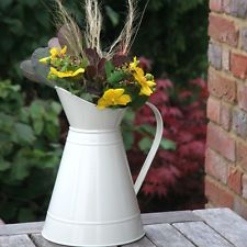 Jug Metal Cream Enamel Wedding Table Decoration Large x 10