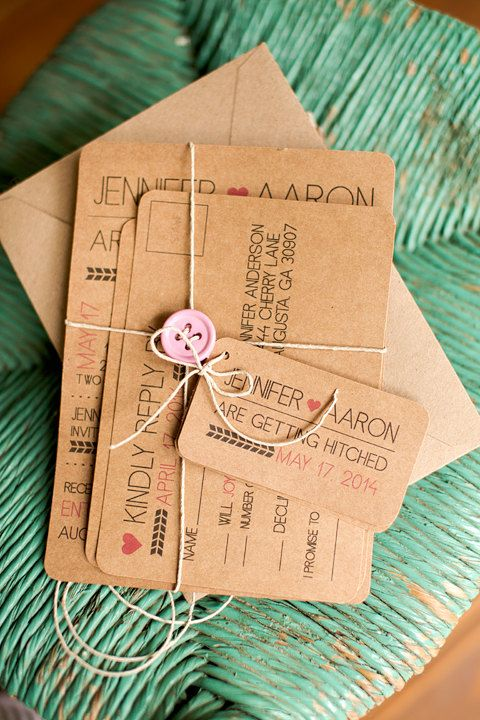 Rustic and modern kraft paper printable wedding invitation tied with twine and button. #rusticwedding
