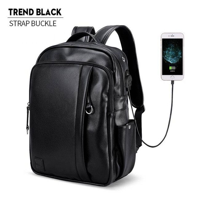 LIELANG Leather Backpack Men External USB Charge Laptop Backpack Travel Bags Western College Style Bags Mochila Feminina