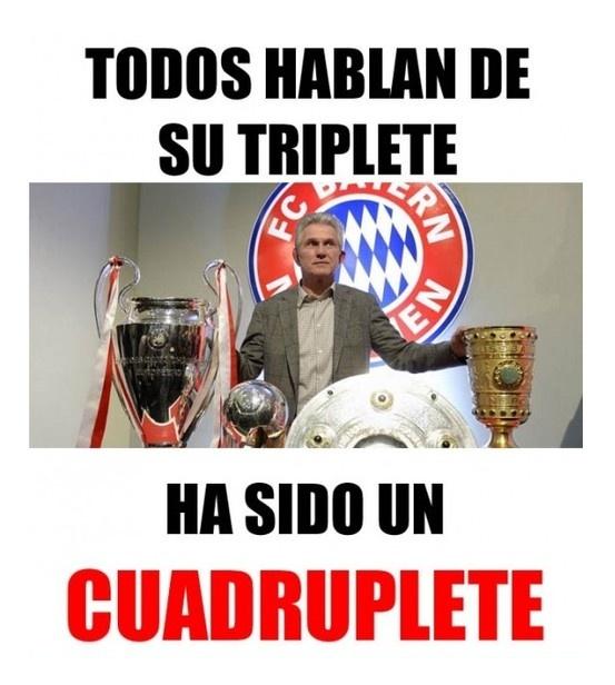 Los títulos de Jupp Heynckes no pasan inadvertidos en la web, con este meme dedicado al entrenador alemán. Crédito meme: Memedeportes.com.
