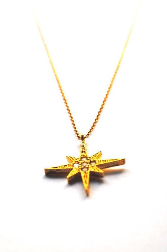 North star necklace CZ star necklace Gold star necklace