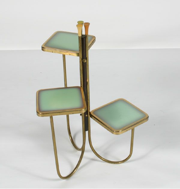 """Paul McCobb three tier plant stand, attributed, enameled brass surfaces, 30\""""H. Good condition, slight surface wear."""