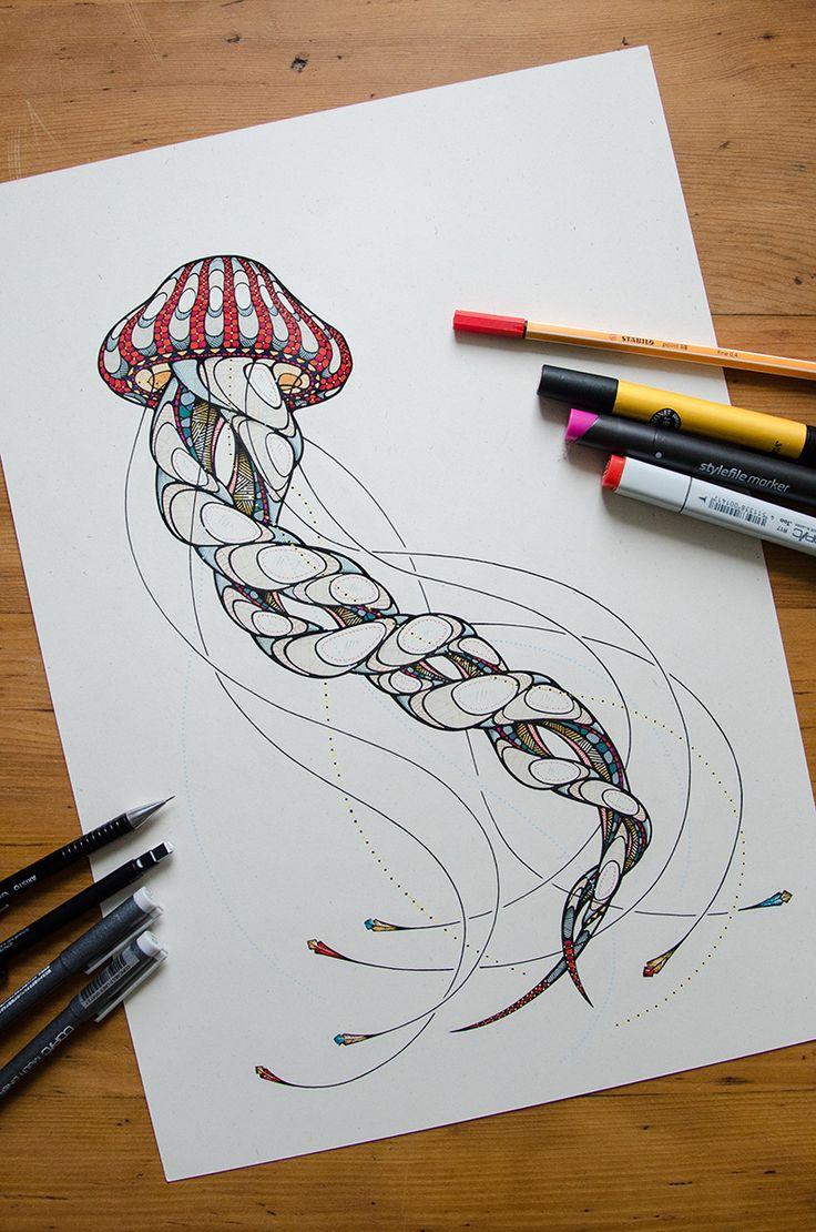 Jellyfish Drawing by Andreas Preis // Animal Poker // www.designerpreis.com