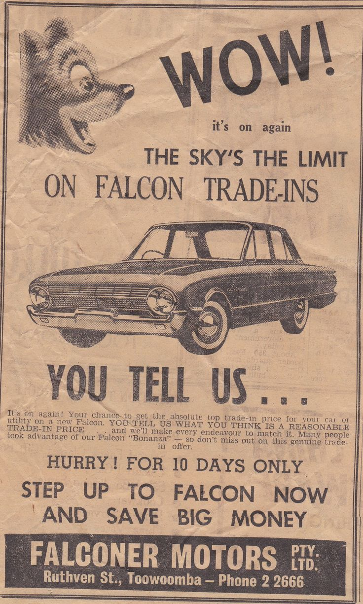 Falconer Motors Ad Taken From The Toowoomba Chronicle And