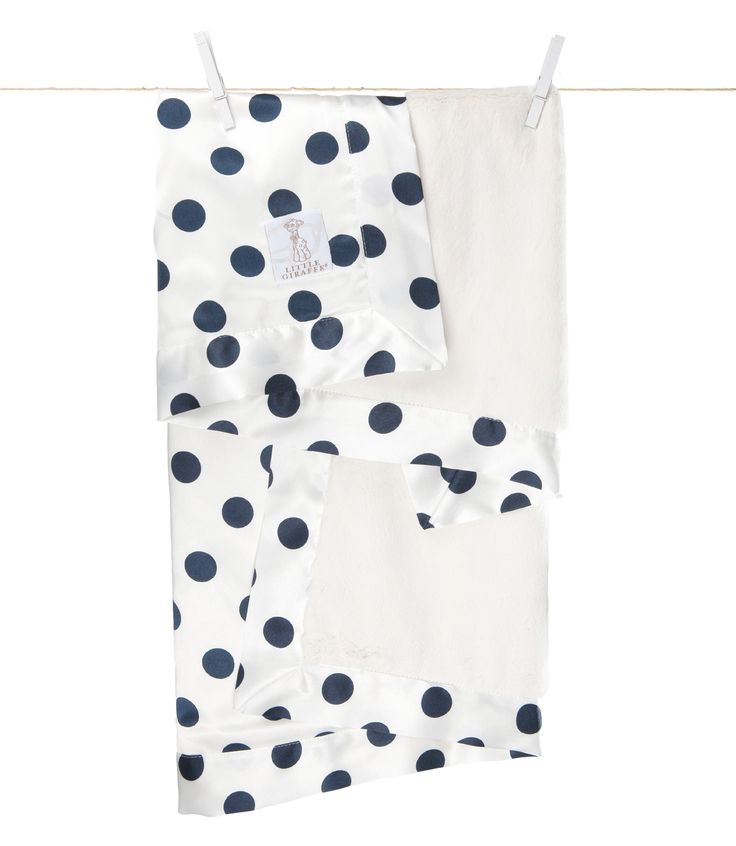 Little Giraffe - Luxe Cream Dot Baby Blanket - Denim CANADA Free Shipping at RockprettyBaby.ca