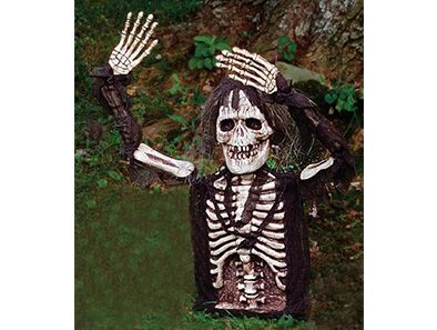 This creepy skeleton's light-up eyes make it the perfect Halloween decoration for everything from front lawns to haunted houses!