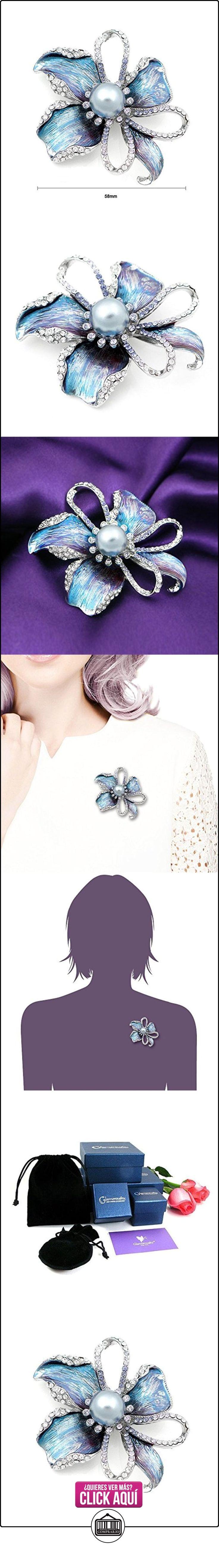 Glamorousky Broche De Flor Con austriaco Plata Cristal Elemento Y Gris Perla De La Moda (4668)  ✿ Joyas para mujer - Las mejores ofertas ✿ ▬► Ver oferta: https://comprar.io/goto/B005Q9GY5U