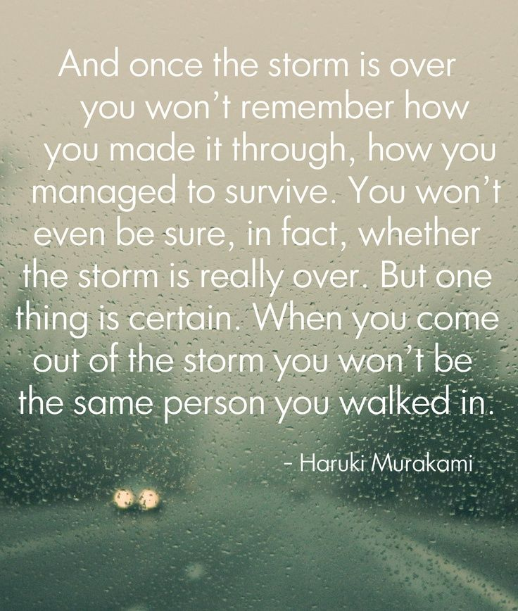 Once the storm is over you won't remember how you made it through, but made it through you did. Remember this is a storm and all storms come to an end.