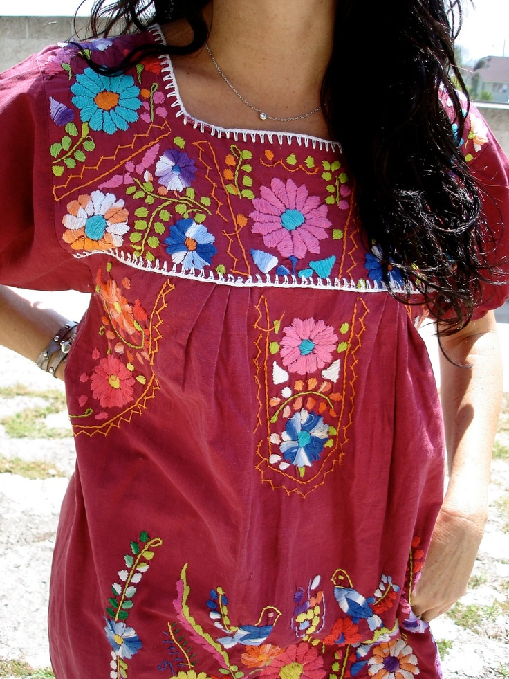 Gorgeous Romantic Hand Embroidered Vintage Mexican Dress Bohemian Gypsy Wow. $52.00, via Etsy.