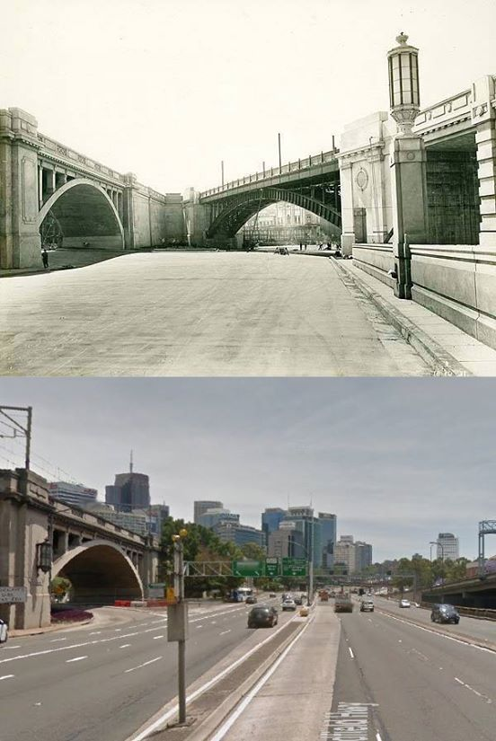 The Bradfield Highway at North Sydney (looking north near the Alfred Street exit) in 1931 and 2014. [1931 - State Library of NSW>2014 - Google Street View. By Phil Harvey]