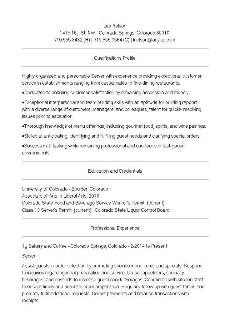 Cafe Server Resume How to create a Cafe Server Resume