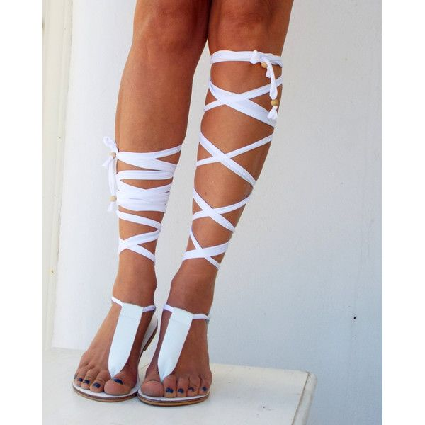 Gladiator Leather Sandals, White and black lace up Sandals, Spartan... ($99) ❤ liked on Polyvore featuring shoes, sandals, summer sandals, gladiator shoes, lace-up sandals, greek sandals and summer shoes