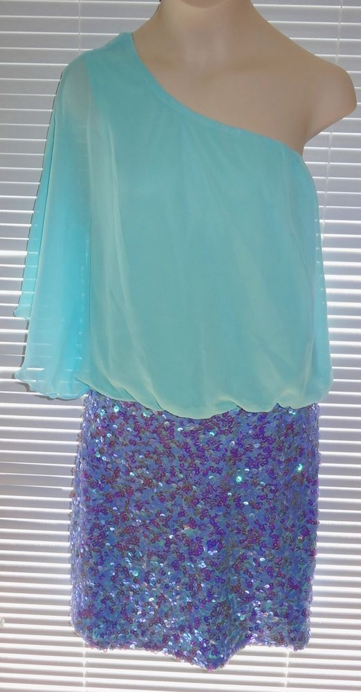 As U Wish Cocktail Dress Aqua Periwinkle Sequin Dress Sz Small One Shoulder - KH #AsUWish #OneShoulder #Cocktail