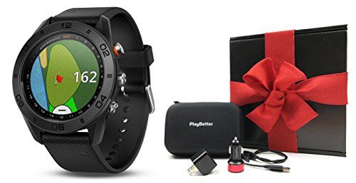 Garmin Approach S60 (Black) Gift Box Bundle   Includes Multi-Sport Golf GPS Watch w/ Activity Tracking, PlayBetter USB Car/Wall Charging Adapters & Protective Hard Case   Gift Box, Red Bow