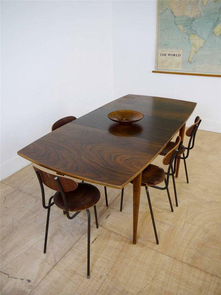 Stunning Designer Uniflex Rosewood & Teak Extending Dining Table Mid Century