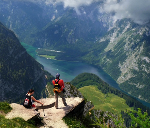 Feeling on top of the world - The Königssee is a lake located in the extreme southeast Berchtesgadener Land district of the German state of Bavaria, near the border with Austria.