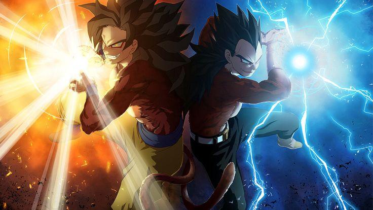 Goku and Vegeta powering up a ki blast at Super Saiyan Level 5.  Download - http://digitalart.io/ss5-goku-ss5-vegeta-wallpaper/