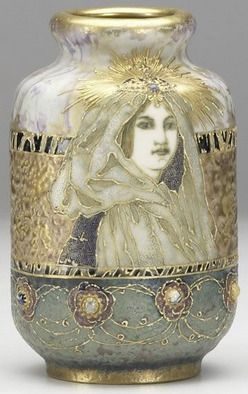 A Riessner, Stellmacher & Kessell, Amphora porcelain vase in Gres-Bijou with crowned lady  ~ 1880-1920