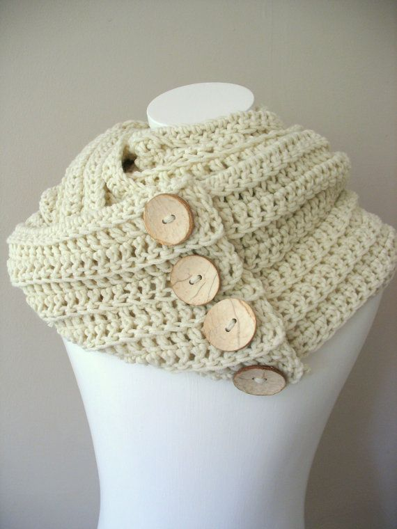 Triple Infinity Cowl Scarf Snood in Vanilla Cream with handmade Coconut Buttons.