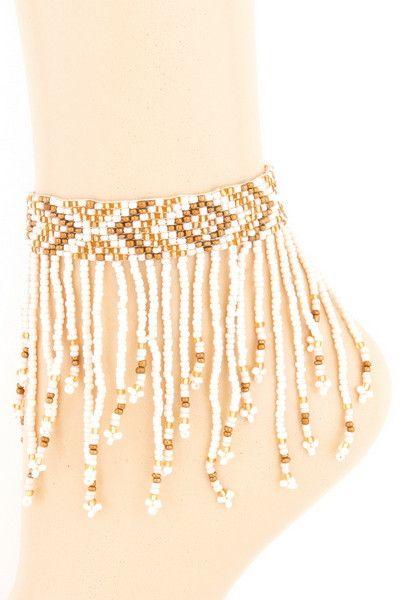 Acrylic seed bead fringe anklet