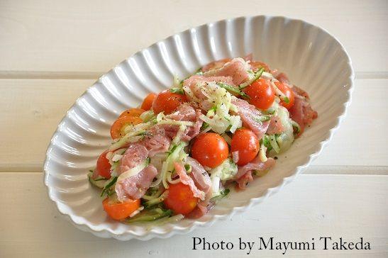 生ハムと夏野菜のサラダ