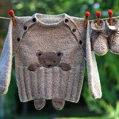 Layette ensemble 3-6 mois ourson brassière et chaussons chiné gris/blanc neuf tricoté main